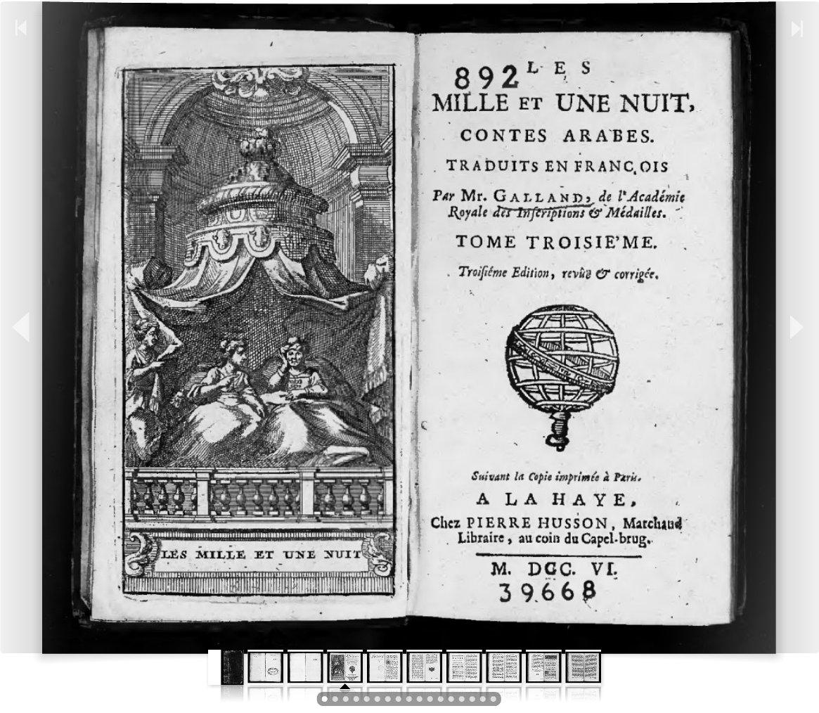 Les mille et une nuits. Contes arabes, traduits en français par Monsieur Galland. Tome III