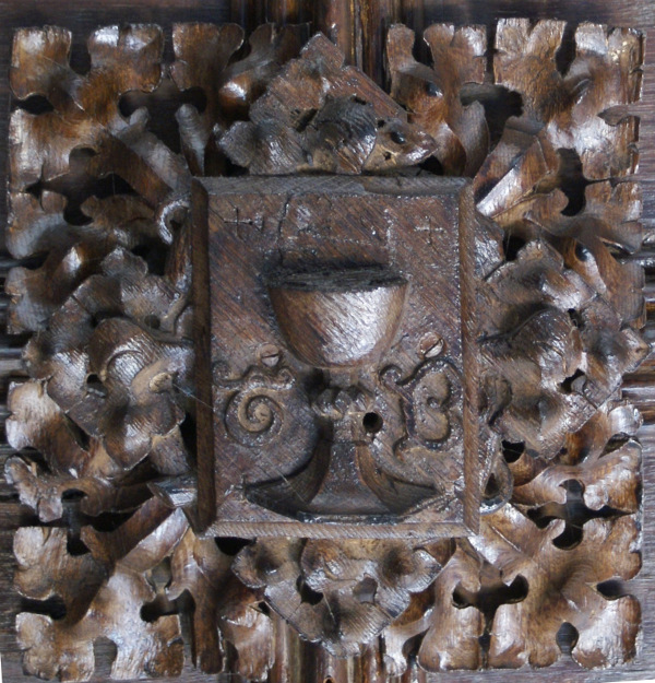 Grail roof boss, St George's Chapel Library
